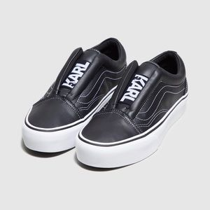 VANS X KARL LAGERFELD BLACK LEATHER SNEAKERS SHOES
